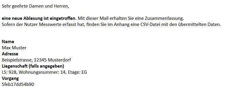 HENCO Selbstablesung - Mail an Messdienst